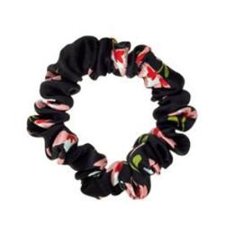 ALMANIA Scrunchie Baby Jedwabna gumka do włosów mini Kwiaty na czarnym tle
