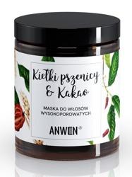 Anwen Maska do włosów wysokoporowatych Kiełki pszenicy i Kakao 180ml