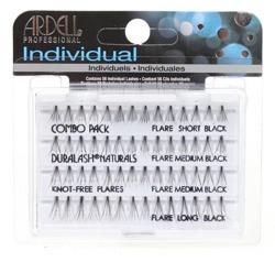 Ardell Individual Combo Pack Duralash Naturals Knot-Free Flares - Komplet kępek sztucznych rzęs bez węzełków, czarne, 56 szt