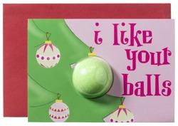 Bomb Cosmetics Kartka świąteczna z kulą musującą do kąpieli I Like Your Balls