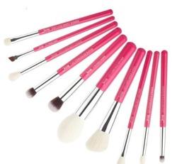 Jessup Bamboo Zestaw 10 pędzli do makijażu T203 Rose carmin&silver