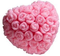 LaQ Mydło glicerynowe Serce w różyczki-różowy