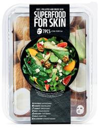SuperFood For Skin Zestaw 7 maseczek w płachcie do skóry szarej i zanieczyszczonej