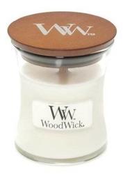 WoodWick świeca mała White Teak 85g