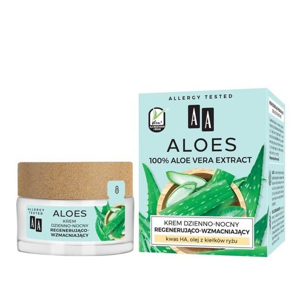 AA ALOES 100% Aloe vera extract Krem dzienno-nocny regenerująco-wzmacniający 50ml