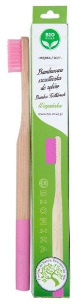 BIOMIKA Bambusowa szczoteczka do zębów RÓŻOWO-BIAŁA