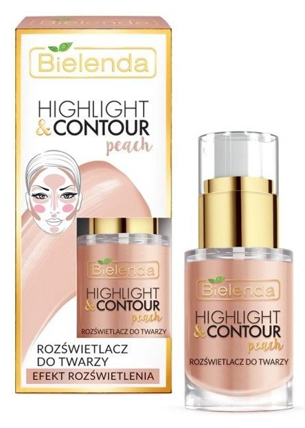 Bielenda Highlight&Contour Peach - Rozswietlacz do twarzy - Efekt rozświetlenia 15ml