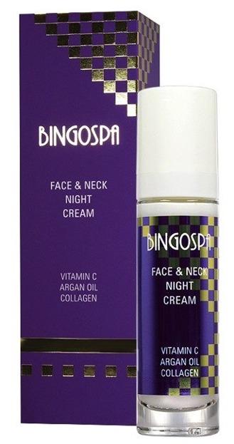 BingoSpa Krem do twarzy i szyi, na noc, z witaminą C, olejem arganowym i kolagenem 50g