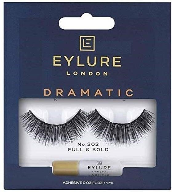 Eylure Glue On Strip - Sztuczne rzęsy na pasku Nr 202 Dramatic, 1 para + klej 1ml