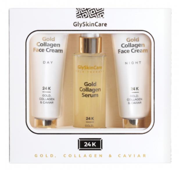 GlySkinCare ZESTAW Gold, Collagen & Caviar Zestaw pielęgnacyjny ze złotem 3x50ml
