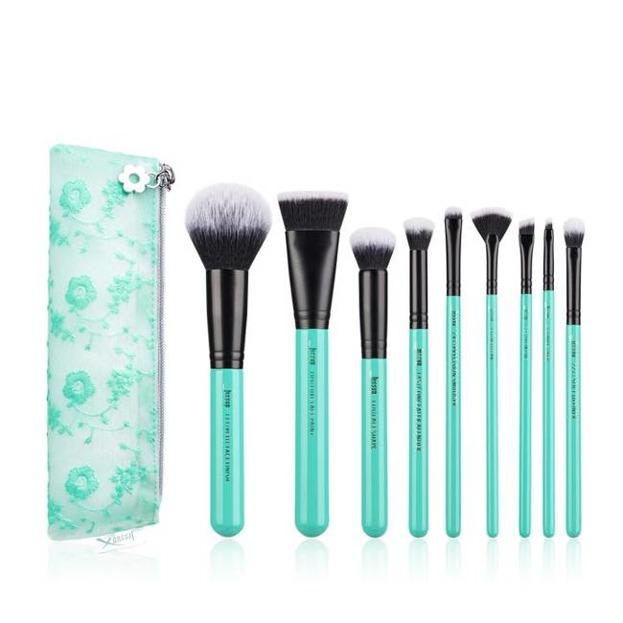 Jessup T321 Turquoise Zestaw 9 pędzli + Cosmetics Bag