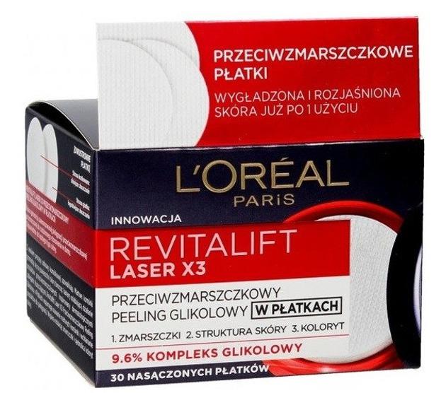 Loreal Revitalift Laser3X Przeciwzmarszczkowy peeling glikolowy w płatkach 30szt.