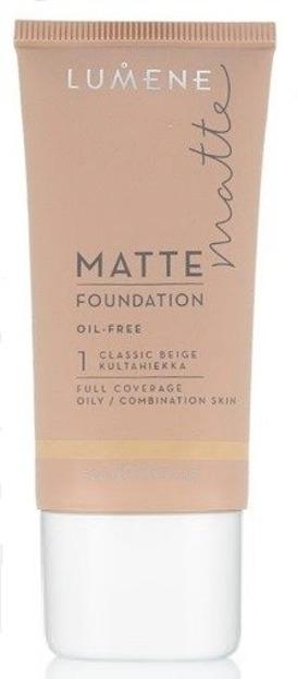 Lumene Matte Control Oil-Free Foundation - Podkład matujący 1 Classic Beige, 30 ml