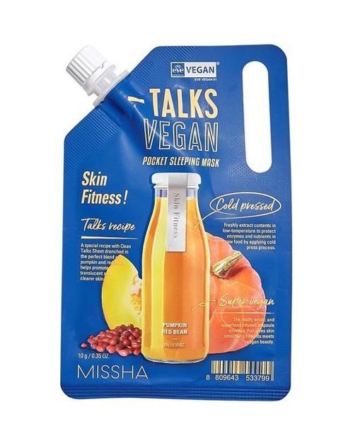 Missha Talks Vegan Squeeze Pocket Sleeping Mask Skin Fitness Całonocna wygładzająca maska do twarzy 10g