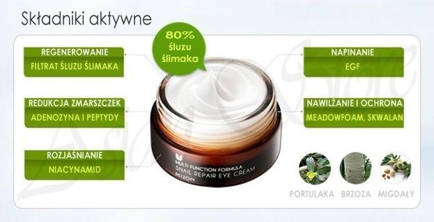 Mizon Snail Repair Eye Cream - Odmładzający krem pod oczy z zawartością śluzu ślimaka, 15 ml
