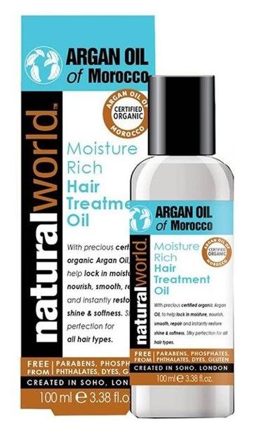 Natural World Argan Oil of Morocco Nawilżający olejek arganowy do włosów 100ml