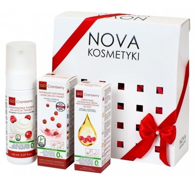 Nova GoCranberry Zestaw Zmysłowa lekkość Pianka do mycia twarzy + Maseczka + Serum przeciwzmarszczkowe na noc