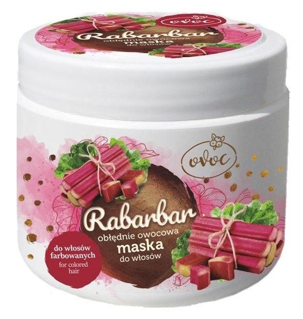 OVOC Maska do włosów farbowanych Rabarbar 500ml