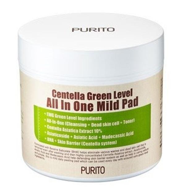 PURITO Centella Green Level all in one mild pad Oczyszczające płatki z wyciągiem z Wąkroty Azjatyckiej 60szt