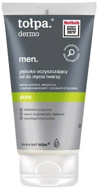 Tołpa Dermo men, Głęboko oczyszczający żel do mycia twarzy